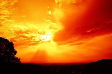 red sunset sky