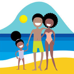 Happy African American family on the beach. Summer vacation, holidays by the sea