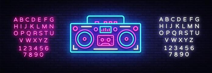 Tape recorder neon signboard vector. Retro Music neon glowing symbol, Retro Style 80-90s Light Banner, neon icon, design element. Vector illustration. Editing text neon sign