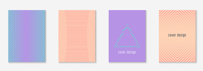 Minimal trendy cover template. Futuristic layout with halftones. Geometric minimal cover template for book, catalog and annual. Minimalistic colorful gradients. Abstract business illustration.