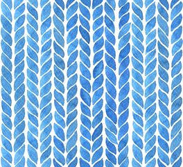 Watercolor background with braid lines in blue. Hand painted seamless pattern