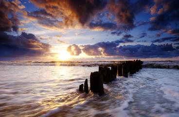 Zachód słońca nad Bałtykiem, Kołobrzeg.