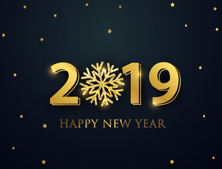 Happy New Year 2019. greeting card with numbers and vector celebration white background