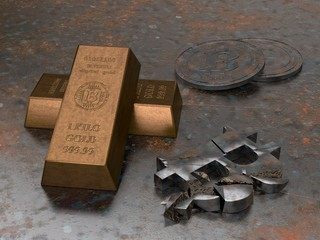 3D illustration of rusty gold bars with the symbol of bitcoin, broken into pieces of iron bitcoin, lost the price. Bitcoin cryptocurrency coins. The idea of collapse, inflation of electronic money.