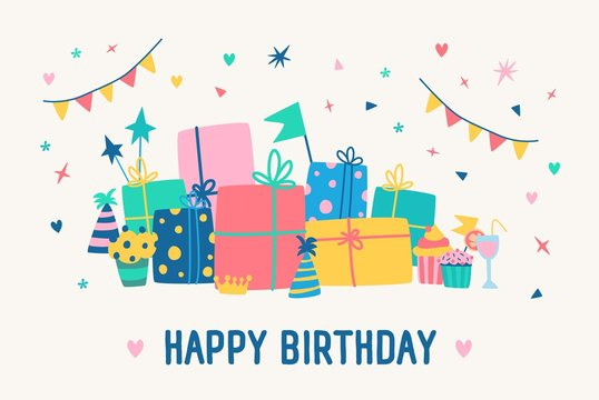 Greeting card template with Happy Birthday inscription and pile of gift boxes wrapped in colorful paper and decorated with ribbons and bows. Celebratory vector illustration in flat cartoon style.
