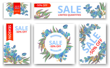 White sale 50% off cards and banner with eucalyptus.