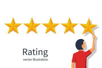 Star rating. Businesswoman holding a gold star in hand, to give five. Feedback concept. Evaluation system. Positive review. Vector illustration flat design. Isolated on white background. Quality work.