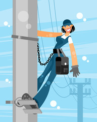 Electrician woman on sky background