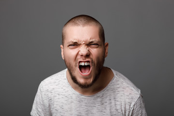 angry screaming young man