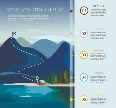 Hiking route infographic  template with a five steps. Layers of mountain landscape with fir trees.