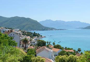 Scenic view from Herzeg Novi towards Kumbor Strait, Montenegro.