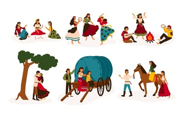 Set of lifestyle scenes with gypsies or Romani people performing various activities - riding horse, playing guitar and dancing, sitting on traditional wagon, telling future. Flat vector illustration.