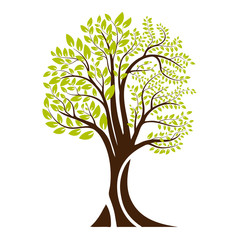 Green tree silhouette. Isolated on white background. Vector