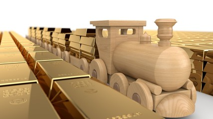 3D illustration of a wooden train toys, carries gold bars in the cars on the aisle among the warehouse of gold bars, a huge variety of gold, the view from the side. Image isolated on white background.