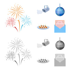 A video camera with smoke, a twirling holiday ball, a plate of sandwiches, an envelope with a greeting card. Event services set collection icons in cartoon,monochrome style vector symbol stock