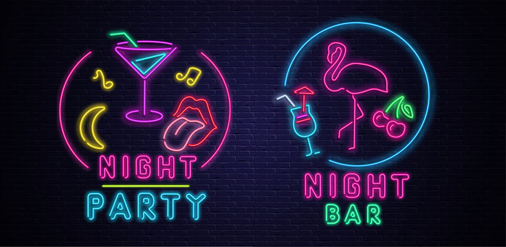 Black night party and bar background with colorful neon decoration.