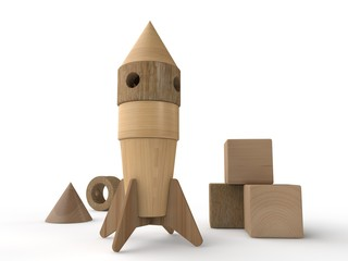 3D illustration of a space rocket, wooden toy, close-up, standing upright. Children's designer of wooden parts, three wooden cubes. Isolated objects on a white background.