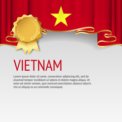 Vietnam flag background with badge. Flag of Vietnam.