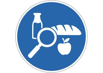 Gebotsschild Lebensmittel prüfen