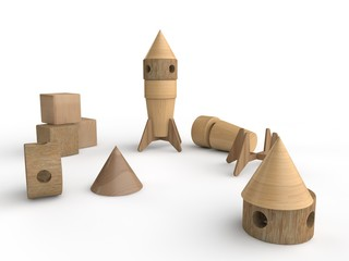 3D illustration of assembled space rocket, wooden toy, close-up, standing upright. One rocket disassembled. Designer of wooden parts, three wooden cube. Isolated objects on a white background.