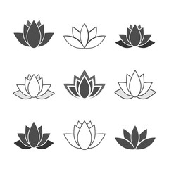 Lotusblüten - Iconset (Grau)