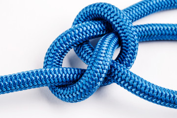 Rope knot close up on a white background.