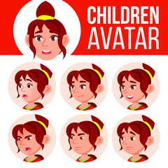 Girl Avatar Set Kid Vector. High School. Face Emotions. User, Character. Fun, Cheerful. Cartoon Head Illustration