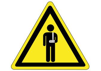 Schild Gefahr einer Armverletzung