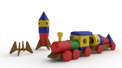 3D illustration of a wooden toy train, cars lucky rocket space, standing next to a wooden rocket. Children's designer. Image isolated on white background.