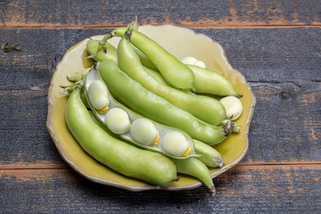 New harvest of healthy vegetables, green fresh raw big broad beans close up