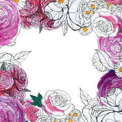 Watercolor Floral Background. Hand painted border of flowers. Good for invitations and greeting cards. Frame of roses isolated on white. Spring blossom.