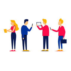 People communicate on the Internet, social networks, mobile phones, tablets. Flat style vector illustration.