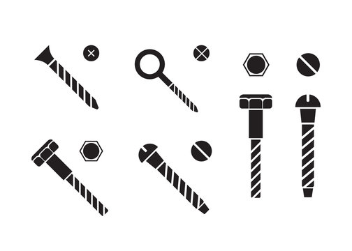 Construction hardware icons. Screws, bolts, nuts and rivets