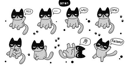 Cute cartoon cats with different emotions.