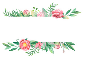 Watercolor floral banner on a white background. Peonies, leaves, branches, a leaf of a fern. Wonderful for the wedding, design invitations, thank you, postcards, business cards.