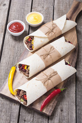 Mexican burrito with beef meat