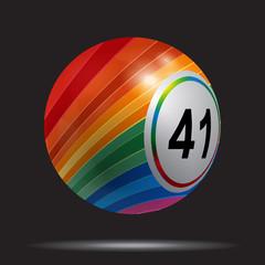 Striped 3D bingo lotto ball on black