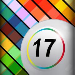 White bingo lottery ball on multi colours background