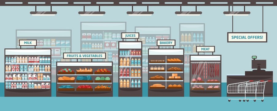 Supermarket shelvings and glass cases with various products - milk, fruits, vegetables, juices, bakery, meat. Food retailer, grocery store or shop. Colored vector illustration in flat cartoon style.
