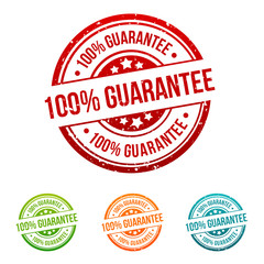 100% Guarantee Stamp Button Banner Badge in different colours.