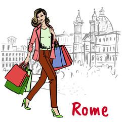 woman walking in Rome