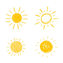 Vector Hand Drawn Sun Icons, Sunny Cute Doodle Set, Isolated on White Background.