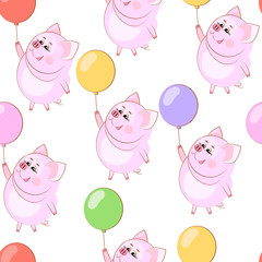 Lovely happy guinea pig. Air balloon. Seamless pattern. Vector illustration.