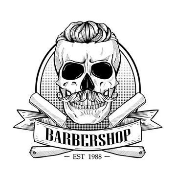 Barbershop logo, angry sticker with skull
