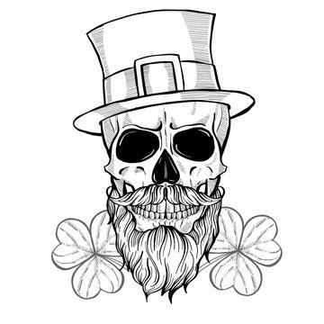 Hand drawn angry skull of leprechaun