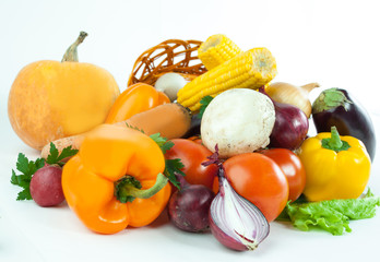 closeup.a variety of fresh vegetables in a wicker baske