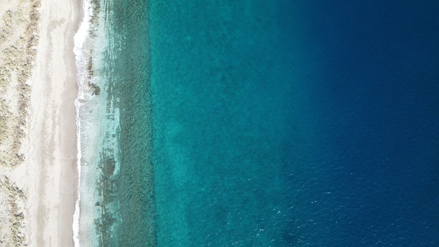 Aerial drone photo beach, sea and reef