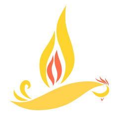 A flying bird with a wing in the form of a flame