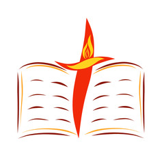 An open Bible, a cross and a bird with a wing in the form of a flame