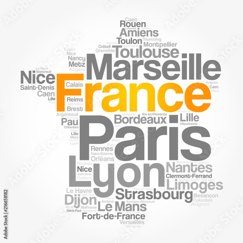 Cities Of France Map.List Of Cities And Towns In France Map Word Cloud Collage Business